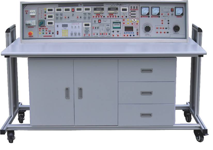 SBGJ-758E 高级电工/模电/数电/电力拖动(带直流电机)实验室成套设备(带功率表、功率因数表) 一、产品特点 实验具有较完善的安全保护措施,较齐全的功能。在前几代的产品基础上各方面做了较大的改进,实验项目更加丰富,覆盖面广,实验内容选择余地大,实验深度有较大提高,使实验更加深入完整。实验台装配智能化数字交流、直流电表,测量精度高、测量范围宽,使用方便。电工、电拖强电部分实验均采用隐蔽式电学插座,接触可靠、安全。继电接触器、按钮、时间继电器等独立做成箱式,元器件接线端口引至电学专用插座上。实验方便、