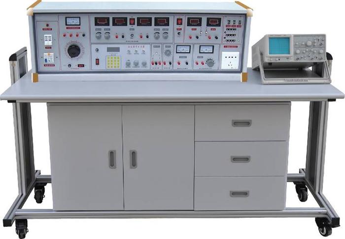 SBBK-535B 模电、数电实验室成套设备 一、产品的特点: 实验台具有较完善的安全保护措施,较齐全的功能。实验操作桌中央配有通用电路插扳,电路板由进口ABS注塑而成,背面装有压铸而成九孔成一组的铜片,表面布有九孔成一组相互联通的插孔,创新实验元件模块在其上任意拼插成实验电路。实验元件制成透明创新模块,直观性好,盒盖印有永不褪色元件符号,线条清晰美观。盒体与盒盖采用较科学的压卡式结构,维修、更换元件拆装方便。元器件放置在实验操作桌下边左右柜内,实验时取存方便,大大提高了管理水平,规划化程度,大大减轻了教